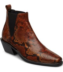 sally shoes boots ankle boots ankle boots with heel brun nude of scandinavia