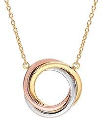14k rose, white & yellow gold triple circle necklace