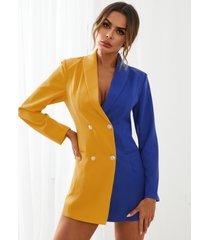 mini vestidos con botones delanteros de retazos yoins