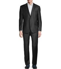 saks fifth avenue men's tailored-fit wool & silk blend suit - charcoal - size 44 r