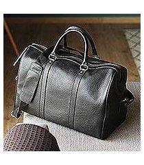 leather travel bag, 'ebony traveler' (mexico)
