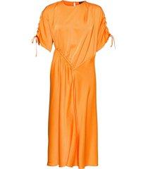 davina, 1168 solid cady knälång klänning orange stine goya