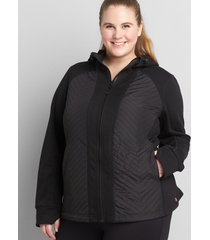 lane bryant women's livi quilted hooded jacket 14/16 black