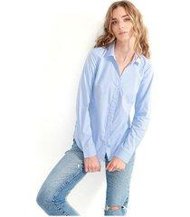 camisa para mujer manga larga, cuello v, botones frontales color-azul-talla-s