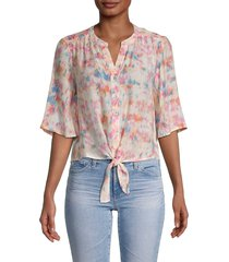 nanette nanette lepore women's floral tie-waist top - light pink - size xs