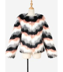cappotto corto corto autunno inverno manica lunga in pelliccia sintetica