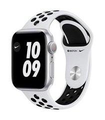 apple watch series 6 nike prata, 40mm, gps, com pulseira espotiva nike platina e preta