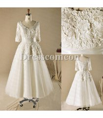 ball gown plus size tea length with sleeves ivory lace &tulle wedding dresses