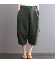 zanzea medio corto pantalón elástico de las mujeres del botón de la cintura de la cremallera bolsillos pantalones verde -verde