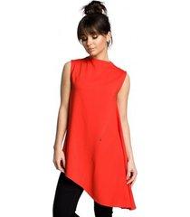 blouse be b069 asymmetrische mouwloze top - rood
