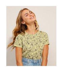 camiseta de algodão estampada artsy manga curta decote redondo verde claro