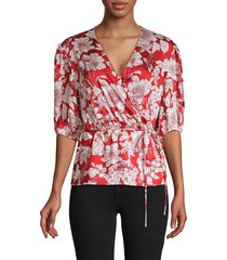 rebecca minkoff women's floral-print belted top - red - size xxs