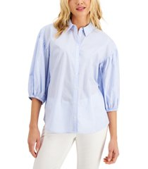 charter club petite cotton 3/4-sleeve shirt, created for macy's
