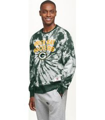 tommy hilfiger men's green bay packers tie-dye sweatshirt green/green bay packers - m