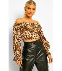 geweven luipaardprint top met open schouders, brown