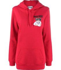 moschino teddy bear print hoodie - red
