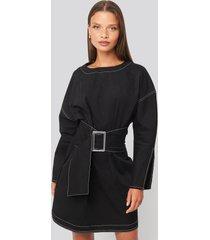 trendyol mini front belted dress - black
