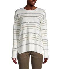 calvin klein women's sequin-striped sweater - white beige - size xs