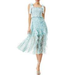 women's alice + olivia jocelyn floral smocked midi dress, size 2 - blue