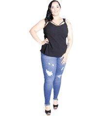 calça jeans skinny feminina plus size da cambos - tricae