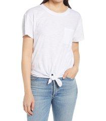 women's caslon crewneck tie front t-shirt, size x-large - white
