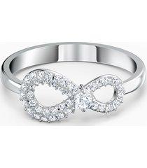 anello swarovski infinity, bianco, placcato rodio