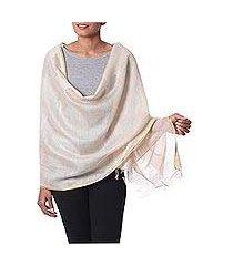 tussar silk shawl, 'beige diva' (india)