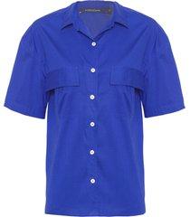 camisa feminina tricoline royal - azul