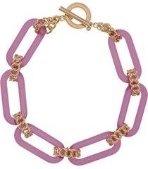 chiristian siriano new york gold tone and lucite link collar necklace