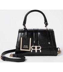 river island womens black 'rr' faux leather tote bag