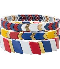 eye candy la women's luxe natalie 3-piece goldtone & enamel bracelet set