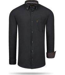cappuccino italia regular fit overhemd black zwart