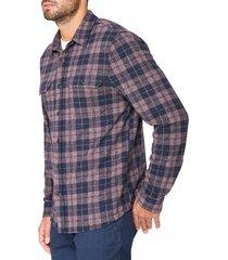 men's 7 diamonds ford slim fit stretch plaid flannel button-up shirt, size x-large - burgundy