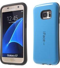 iface mall glossy pc tpu hybrid case for samsung galaxy s7 g930 -  dark blue