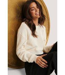 basma & merna x na-kd stickad tröja med mönster - offwhite