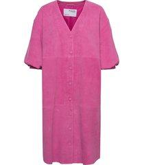 slfvanessa 2/4 leather shirt dress dresses everyday dresses rosa selected femme