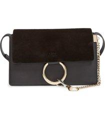 chloe small faye leather crossbody bag - black