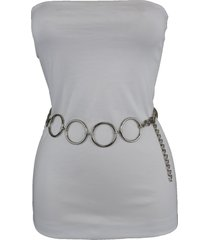 trendy women fashion hip high waist belt silver metal chains ring size xs s m