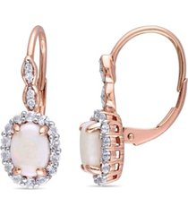 opal (7/8 ct. t.w.), white topaz (7/8ct. t.w.) and diamond accent vintage halo earrings in 14k rose gold