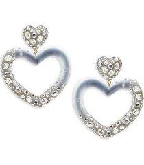 10k goldplated, lucite & crystal heart drop earrings