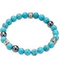 jean claude men's turquoise, hematite and sterling silver beaded bracelet - aqua