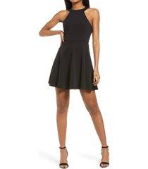 lulus keep coming back backless skater dress, size medium in black at nordstrom