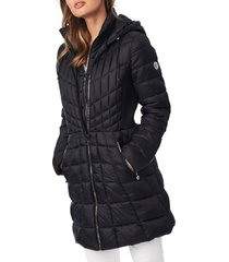 bernardo packable hooded down & primaloft(r) fill coat with contrast inset bib, size x-small in black at nordstrom