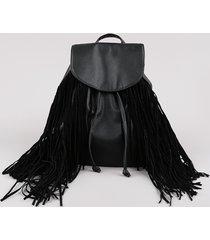 mochila feminina média com franjas preta