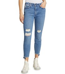frame women's le high release stagger-hem skinny crop jeans - blue rip - size 27 (4)