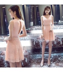 pf266 sexy elegant floral lace dress w keyhole back, size s-xl, pink