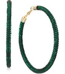 "inc gold-tone large crystal glitter hoop earrings, 3"", created for macy's"