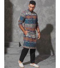 hombres estilo étnico casual stand collar tribal random print camisa