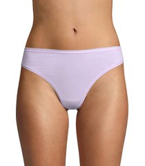 ava & aiden women's stretch cotton thongs - black - size m