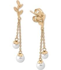 majorica gold-plated sterling silver imitation pearl dangle drop earrings